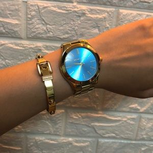 Michael Kors Teal and Gold Tone Watch